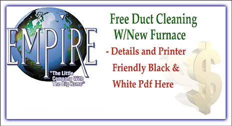 Free duct cleaning with any new furnace installation