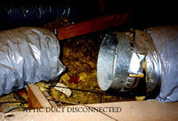 Disconnected air ducts need fixing. Air conditioning service and Heating service.