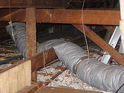 Even air ducts this bad can be fixed. Air conditioning service and Heating service.