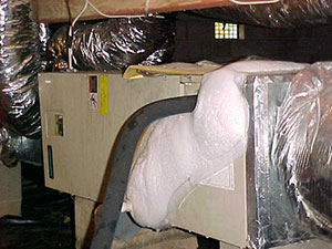 Dirty air ducts contribute to iced up evaporator coils that can cause property damage