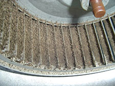 Furnace fanmotors with dirty blower wheels do not move enough air for home air conditioners to operate properly