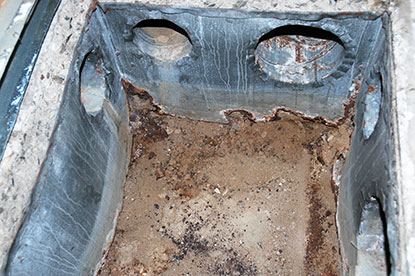 Underground or below grade air ducts can be repaired